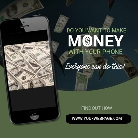 Earn money with phone ad template สี่เหลี่ยมจัตุรัส (1:1)