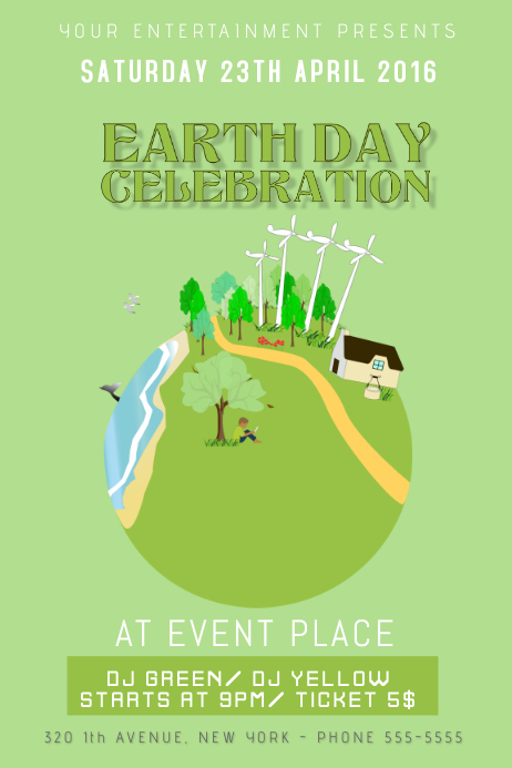 earth day celebration event flyer poster template