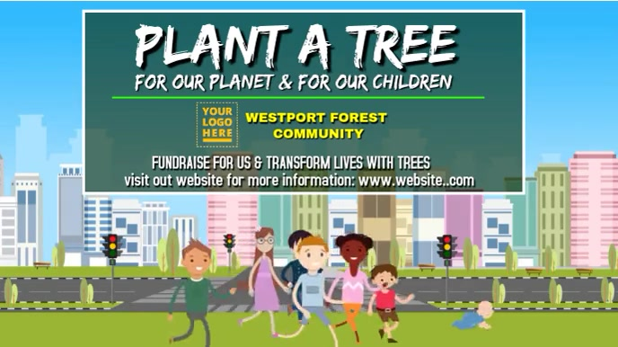 Earth Day Plant A Tree Animation Tampilan Digital (16:9) template
