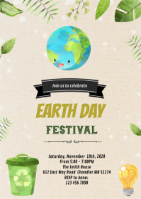 Earth day theme invitation A6 template