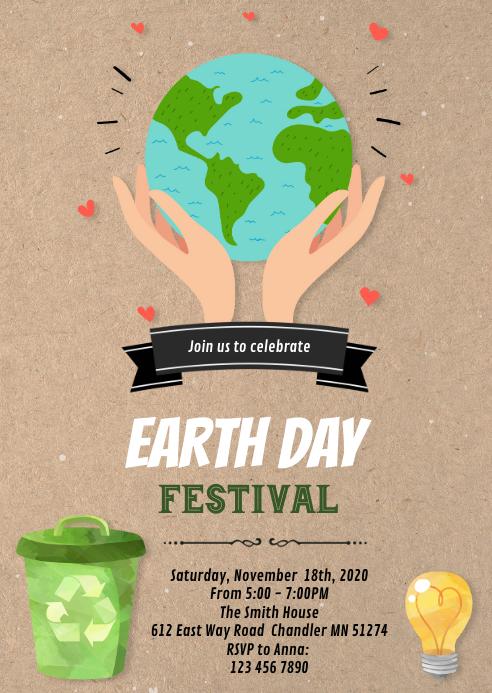 Earth day theme invitation