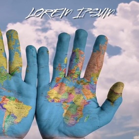 EARTH DAY WORLD MAP HANDS CHARITY BACKGROUND 方形(1:1) template