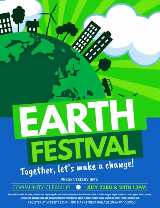 Earth festival Pamflet (Letter AS) template