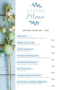 Earthen Easter Cafe Menu Design Half Page Wide template