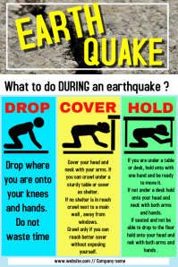 Earthquake alert workposter template
