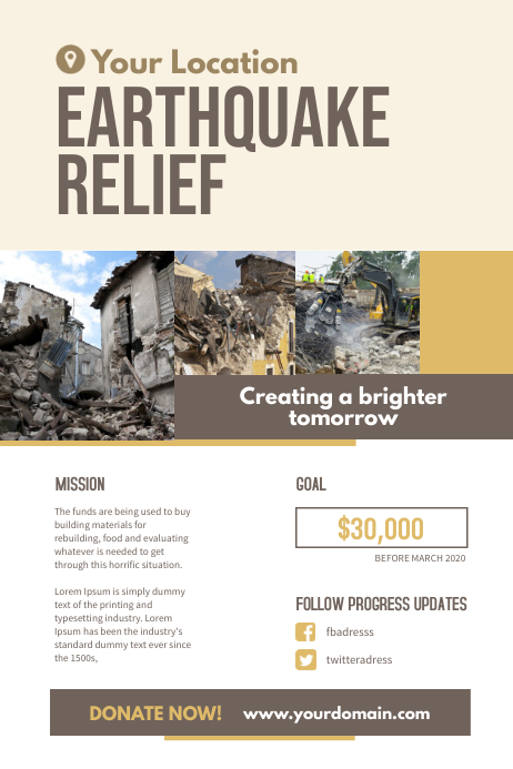 Earthquake Relief Fundraiser Flyer Poster