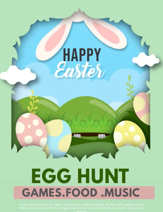 Easter ,happy Easter ,Easter bunny Pamflet (Letter AS) template