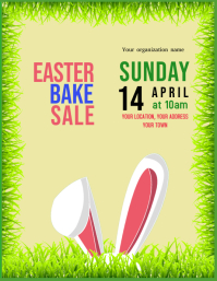 Easter bake sale cake poster flyer event temp