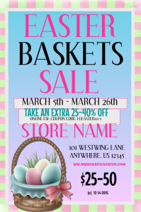 Customizable design templates for easter basket sale flyer easter basket sale event flyer negle Images