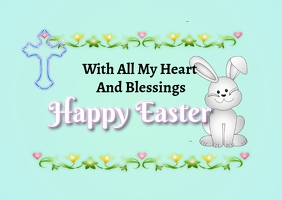 Easter Blessings Greeting Card Postcard template