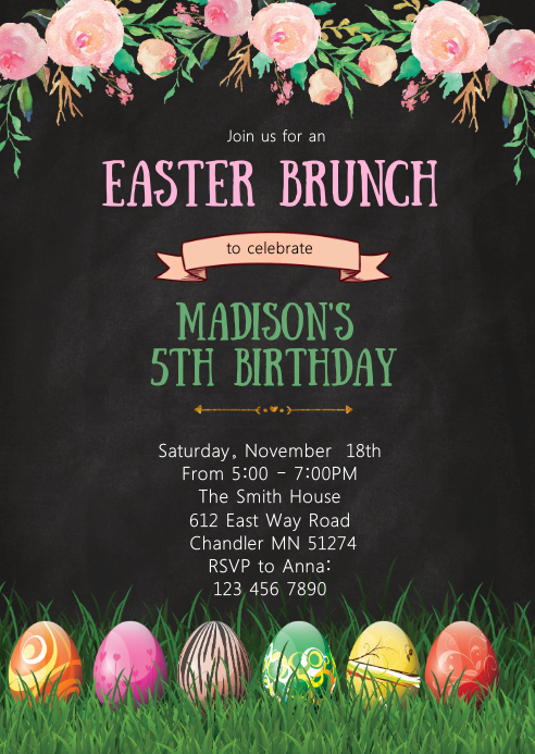 Easter brunch birthday party invitation A6 template