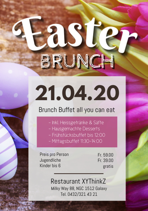 Easter Brunch Buffet Breakfast Restaurant Ad A4 template