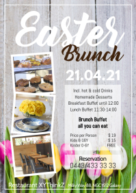 Easter brunch Buffet Breakfast Advert Flyer A4 template