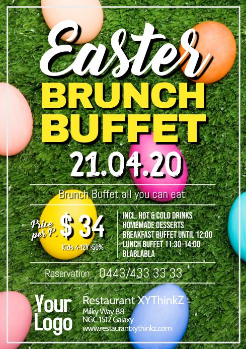 Easter Brunch Buffet Breakfast Dinner Lunch A4 template