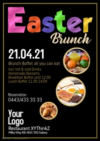 Easter Brunch Buffet Breakfast Flyer Poster Restaurant Ad