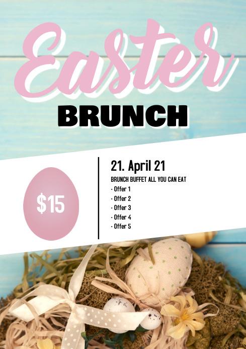 Easter Brunch Buffet Breakfast Flyer Poster Restaurant Bar A4 template