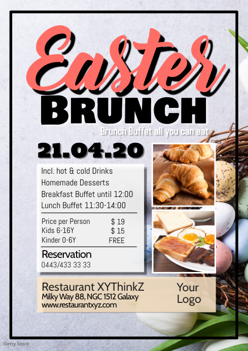 Easter Brunch Buffet Breakfast Flyer Poster Restaurant Bar