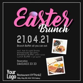 Easter Brunch Buffet Breakfast Flyer Poster Restaurant Square (1:1) template