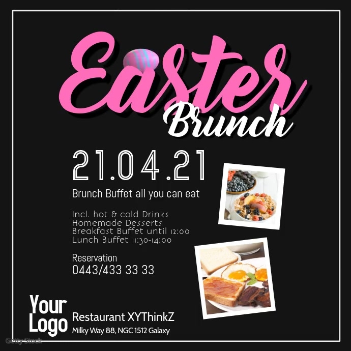 Easter Brunch Buffet Breakfast Flyer Poster Restaurant Vierkant (1:1) template