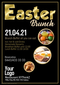 Easter Brunch Buffet Breakfast Flyer Poster Restaurant Gold