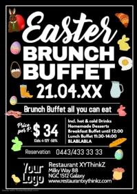 Easter Brunch Buffet Breakfast Oster Flyer Poster Restaurant A4 template