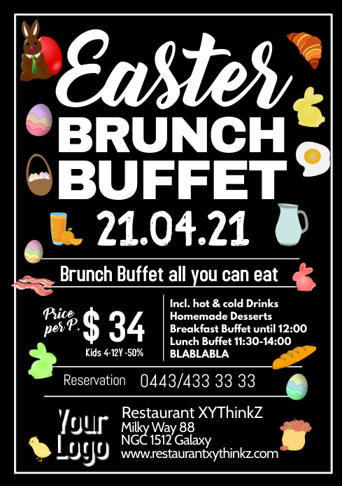 Easter Brunch Buffet Breakfast Oster Flyer Poster Restaurant A4 template