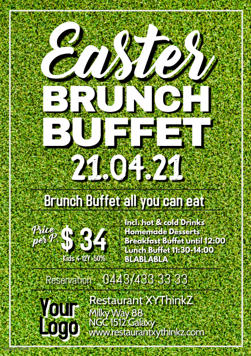 Easter Brunch Buffet Breakfast Ostern A4 template