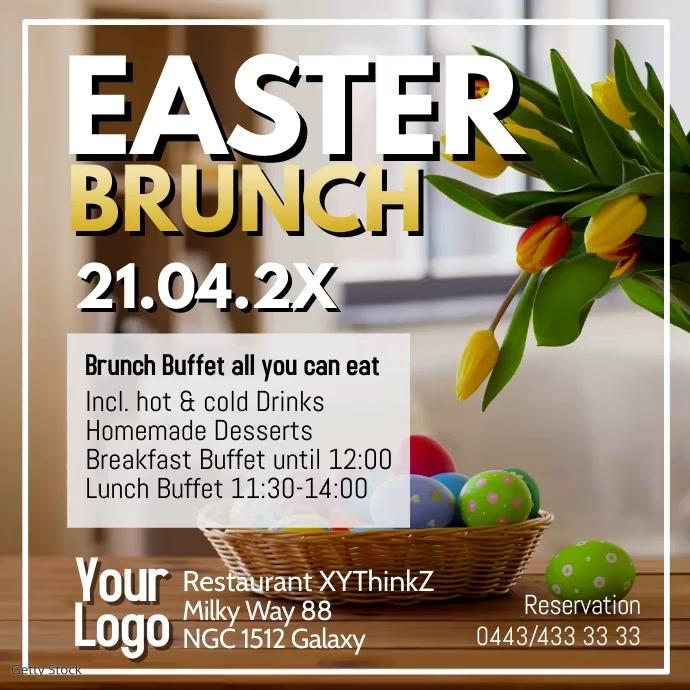 Easter Brunch Buffet Breakfast Ostern Video Square (1:1) template