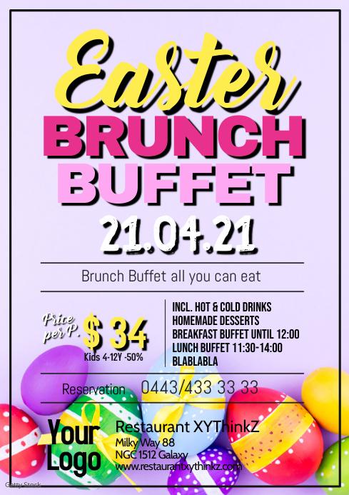 Easter Brunch Buffet Breakfast OsternFlyer Po A4 template