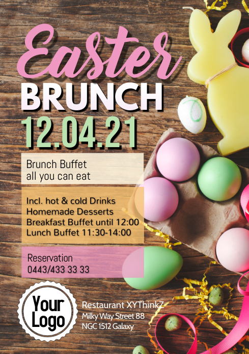 Easter Brunch Buffet Breakfast OsternFlyer Poster Restaurant