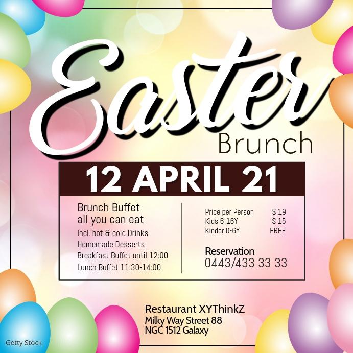Easter Brunch Buffet Breakfast Template Resta Instagram 帖子