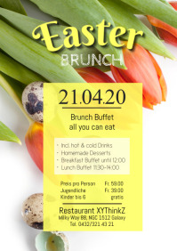 Easter Brunch Buffet Flyer Poster A4 template