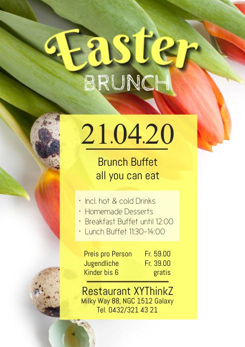 Easter Brunch Buffet Flyer Poster A4 template