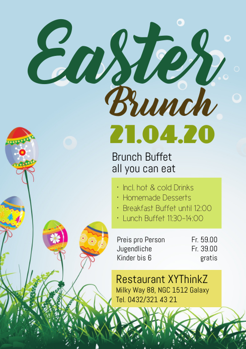 Easter Brunch Buffet Flyer Poster Event Advert Restaurant A4 template