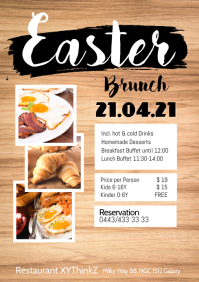 Easter Brunch Buffet Flyer Poster Restaurant A4 template