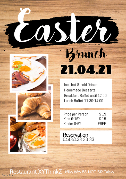 Easter Brunch Buffet Flyer Poster Restaurant