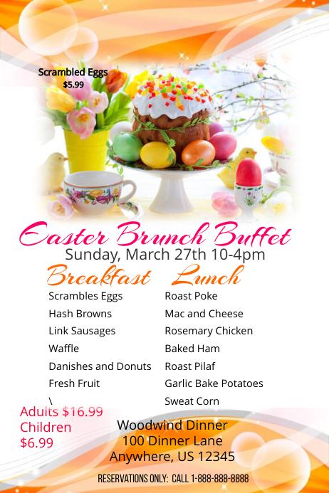Easter Brunch Buffet Poster template