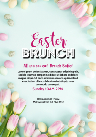 easter Brunch Event ad Decoration wood Table A4 template