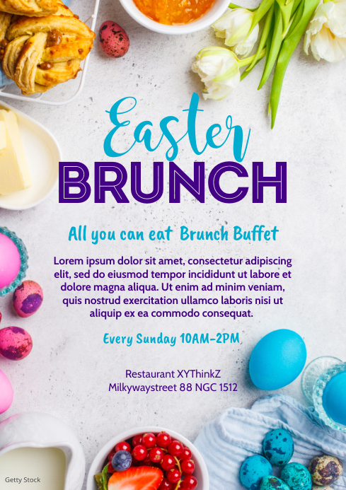 Easter Brunch Flyer Invitation Poster Event A4 template
