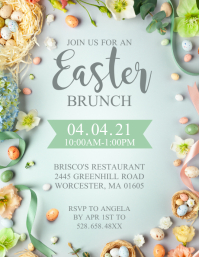 Easter Brunch Invitation Flyer template
