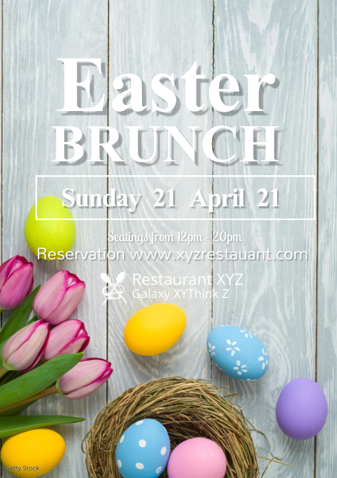 Easter Brunch Promo Restaurant Food Menu Eggs Wood Table A4 template