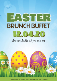 Easter Brunch Sunday Poster Flyer Restaurant Eggs Breakfast