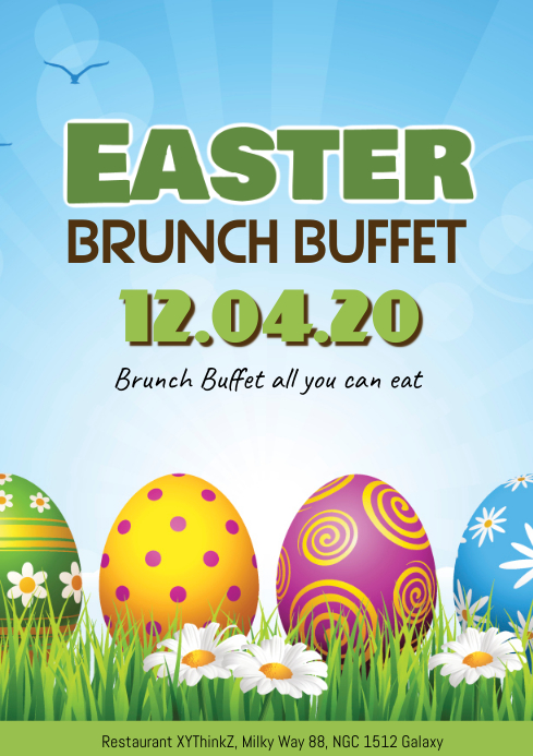 Easter Brunch Sunday Poster Flyer Restaurant Eggs Breakfast A4 template