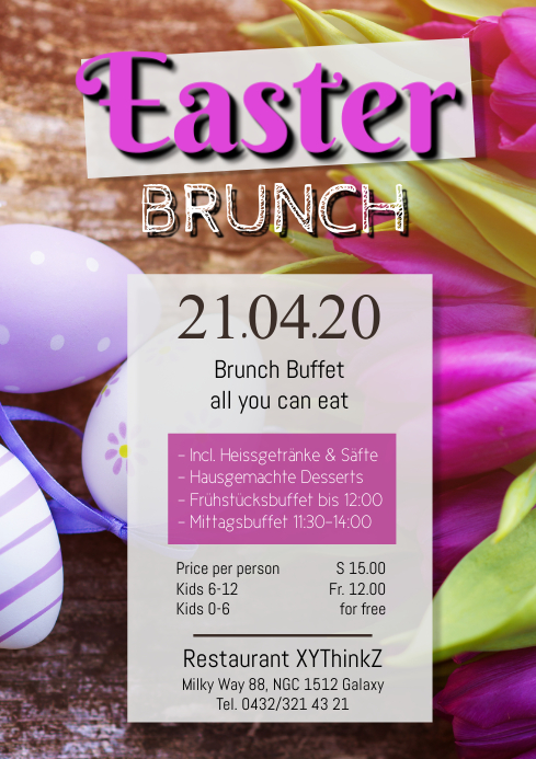 Easter Brunch Sunday Poster Flyer Restaurant Flowers A4 template