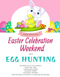 EASTER BUNNY EGG Party Invitation Template