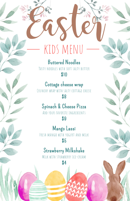 Easter Children's Menu Design