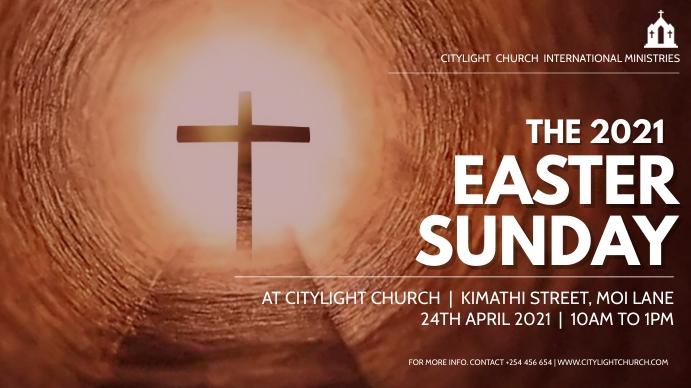 EASTER church flyer Digital na Display (16:9) template
