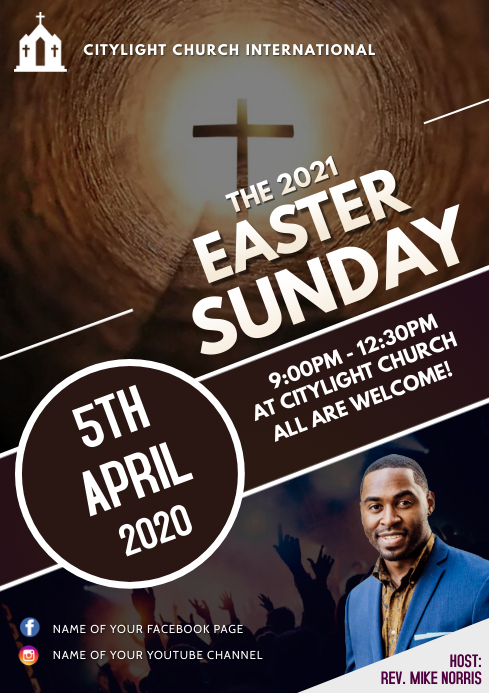 EASTER church flyer A3 template