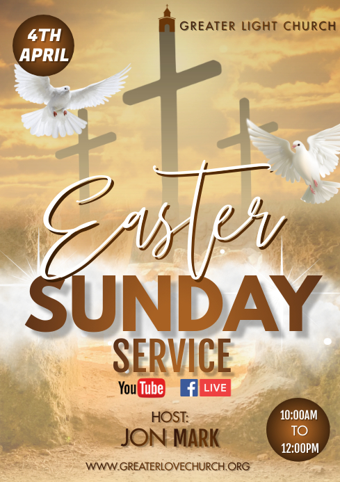 Easter Church Service A3 template