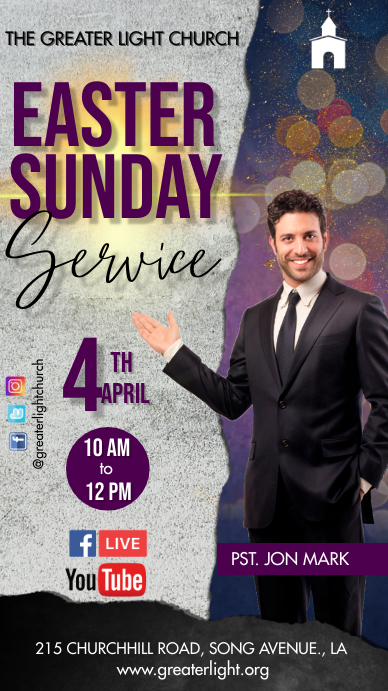 Easter Church Service Pantalla Digital (9:16) template